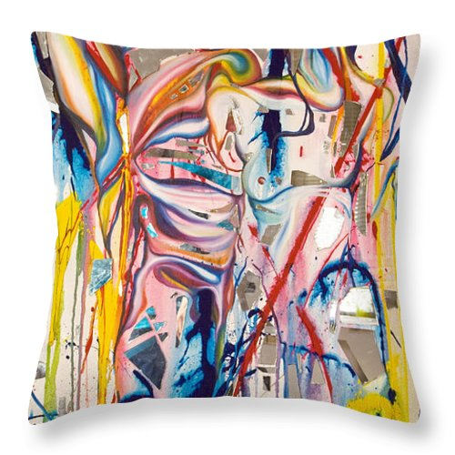 Abstract Throw Pillow featuring the painting Shards by Sheridan Furrer