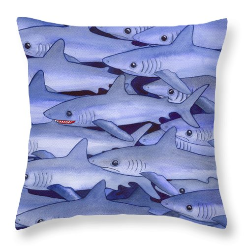 Shark Throw Pillow featuring the painting Sharks by Catherine G McElroy