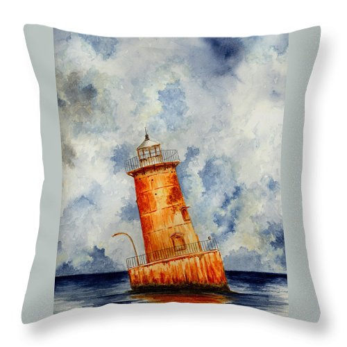 Lighthouse Throw Pillow featuring the painting Sharps Island Lighthouse by Michael Vigliotti