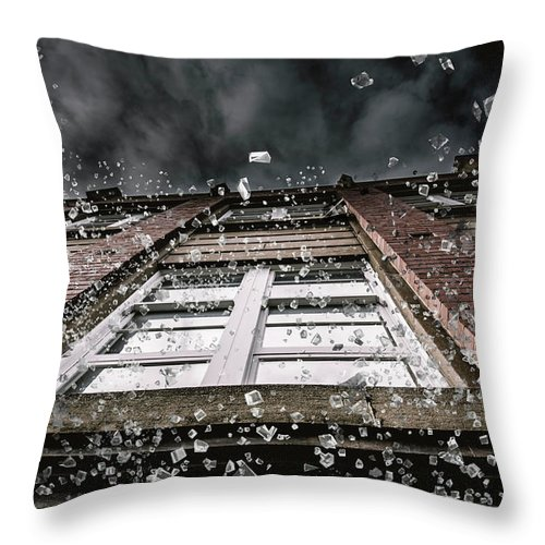 Apartment Throw Pillow featuring the photograph Shattering Pieces Of Glass Falling From Window by Jorgo Photography - Wall Art Gallery
