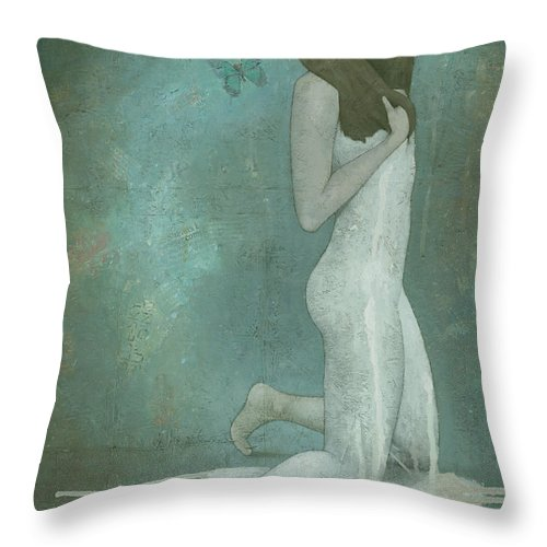 Green Throw Pillow featuring the painting Shavata by Steve Mitchell