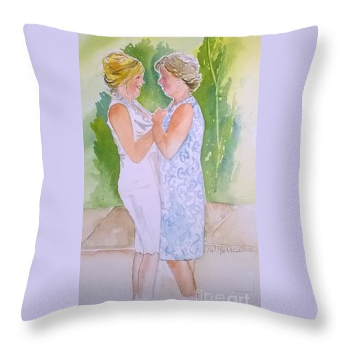 I Just Finished This Painting For A Client On My Etsy Site: Etsy.com/shop/jillywillyart. I Love Painting From Your Photos. I Like To Imagine The Story. A Story Long Before The Photo Was Taken. I Would Love To Paint For You. You Can Contact Me Here Or At My Shop On Etsy. Thank You Throw Pillow featuring the painting Shawn's Wedding by Jill Morris