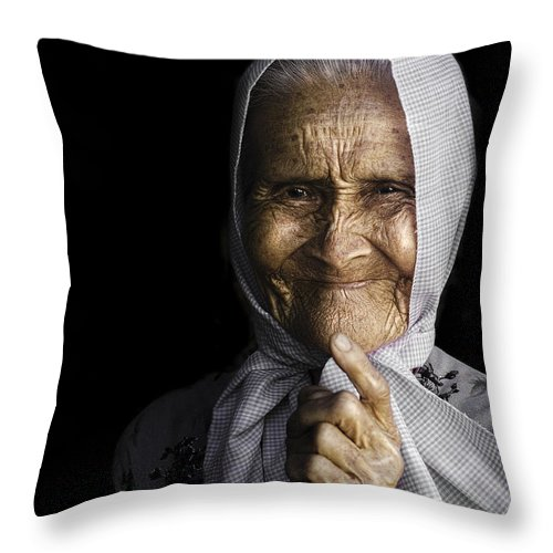 Portrait Throw Pillow featuring the photograph She Bit The Lip To Hide Her Smile by Son Truong