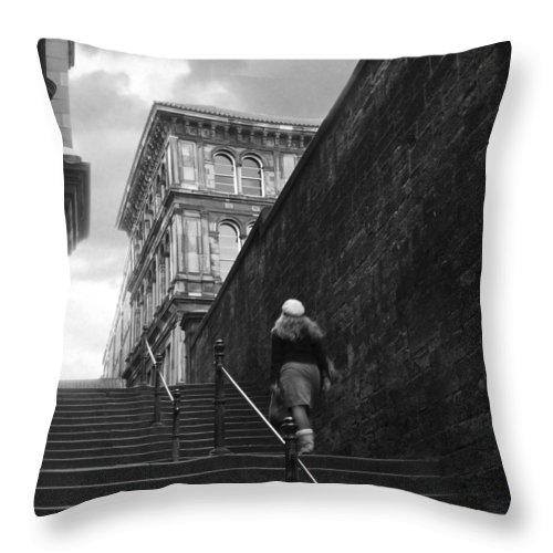 Bw Throw Pillow featuring the photograph she by Dorit Fuhg