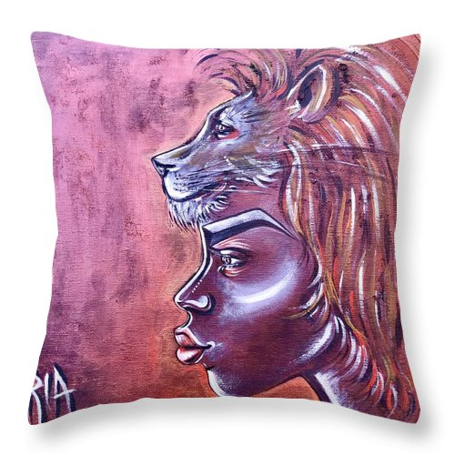 Lion Throw Pillow featuring the painting She Has Goals by Artist RiA