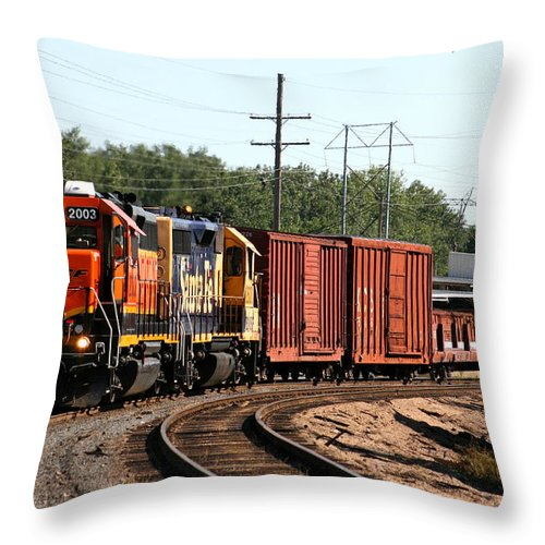 Train Throw Pillow featuring the photograph She Is Coming Around The Bend by David Dunham