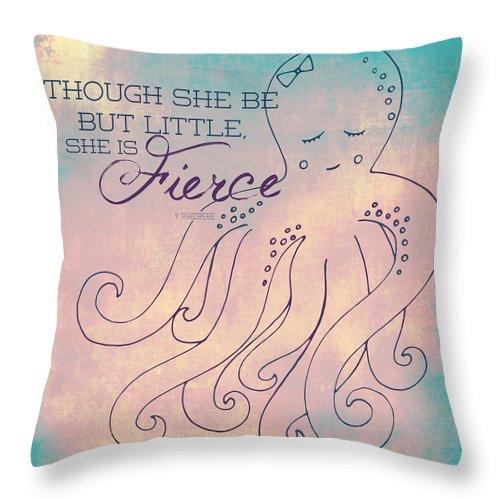 Brandi Fitzgerald Throw Pillow featuring the digital art She Is Fierce Octopus 1 by Brandi Fitzgerald