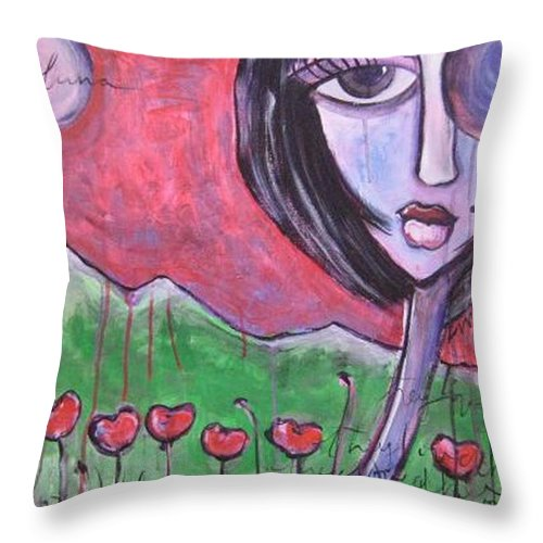 Poppies Throw Pillow featuring the painting She Loved The Poppies by Laurie Maves ART