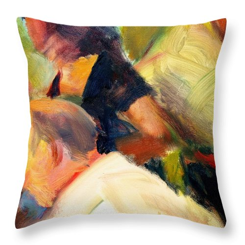 Dornberg Throw Pillow featuring the painting She Stood Out In Black by Bob Dornberg