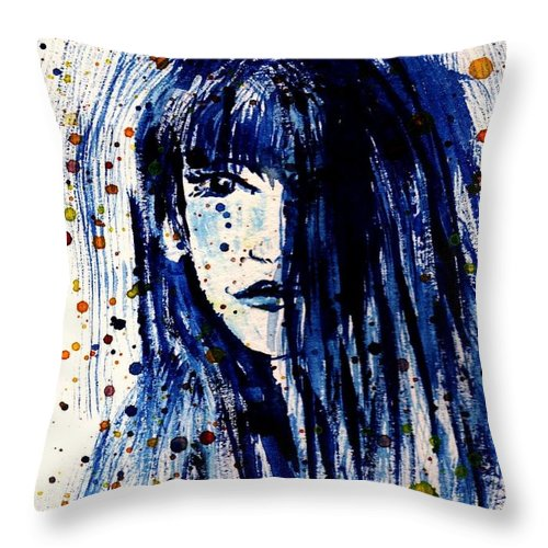 Portrait Throw Pillow featuring the painting She Waits by Robin Monroe