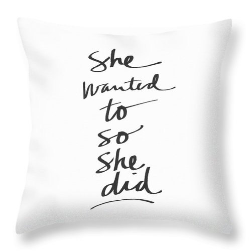 Female Athlete Throw Pillow featuring the painting She Wanted To So She Did- Art By Linda Woods by Linda Woods