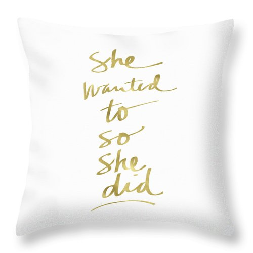 Female Athlete Throw Pillow featuring the painting She Wanted To So She Did Gold- Art By Linda Woods by Linda Woods