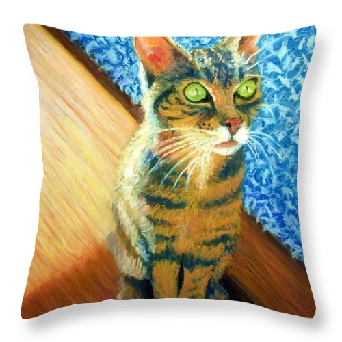Cat Throw Pillow featuring the painting She wants to be FAMOUS by Minaz Jantz