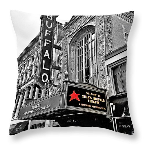 History Throw Pillow featuring the photograph Shea's Buffalo Theater by Phil Pantano