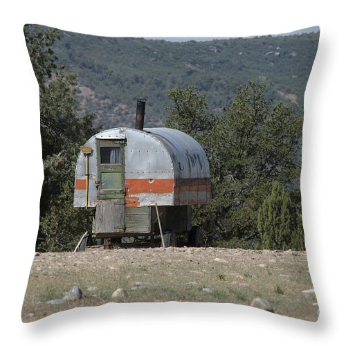Sheep Throw Pillow featuring the photograph Sheep Herder's Wagon by Jerry McElroy