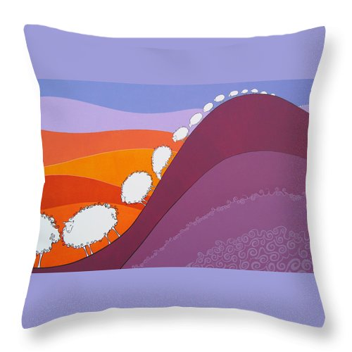 Mountains Throw Pillow featuring the painting Sheep by Patricia Van Lubeck
