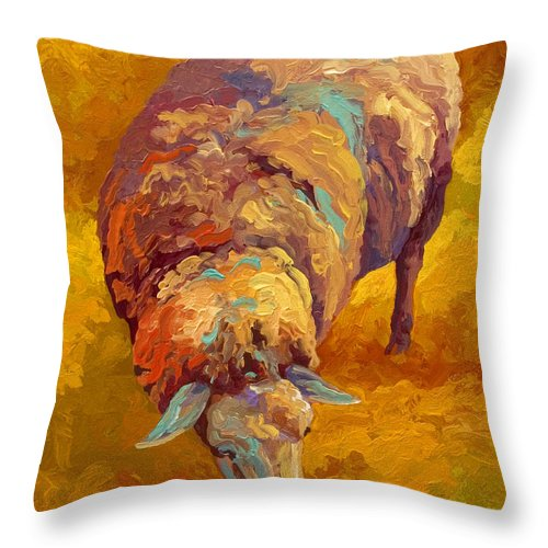 Llama Throw Pillow featuring the painting Sheepish by Marion Rose