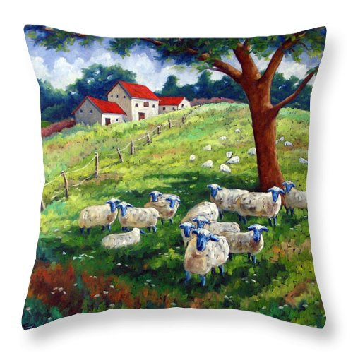 Sheep Throw Pillow featuring the painting Sheeps In A Field by Richard T Pranke