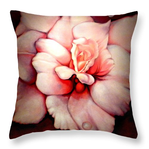 Blooms.large Rose Throw Pillow featuring the painting Sheer Bliss by Jordana Sands