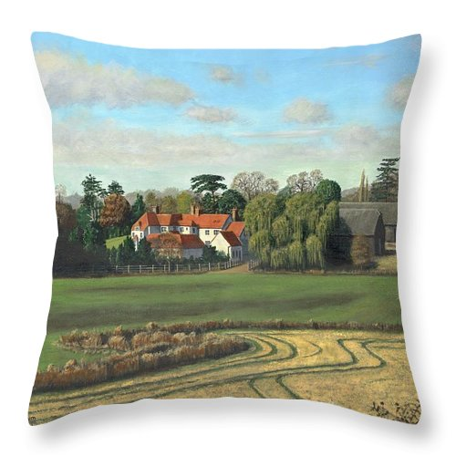 Landscape Throw Pillow featuring the painting Sheering Hall Near Harlow Essex by Richard Harpum