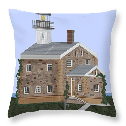 Lighthouse Throw Pillow featuring the painting Sheffield Island Lighthouse Connecticut by Anne Norskog