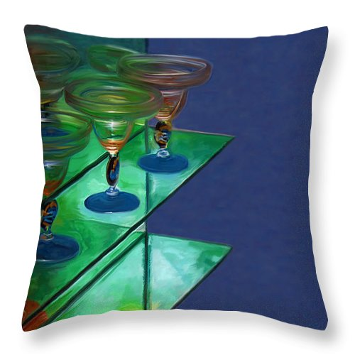 Still Life Throw Pillow featuring the digital art Sheilas Margaritas by Holly Ethan