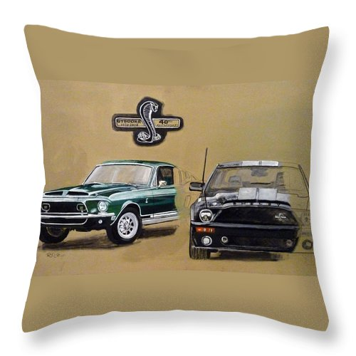 Cars Throw Pillow featuring the painting Shelby 40th Anniversary by Richard Le Page