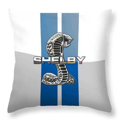 'auto Badges' Collection By Serge Averbukh Throw Pillow featuring the photograph Shelby Cobra - 3d Badge by Serge Averbukh