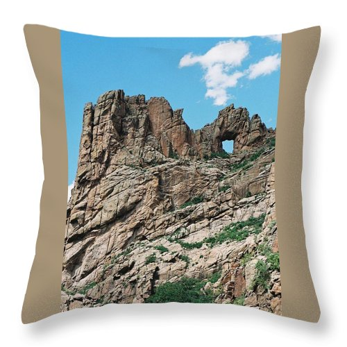 Shelf Road Throw Pillow featuring the photograph Shelf Road Rock Formations by Anita Burgermeister