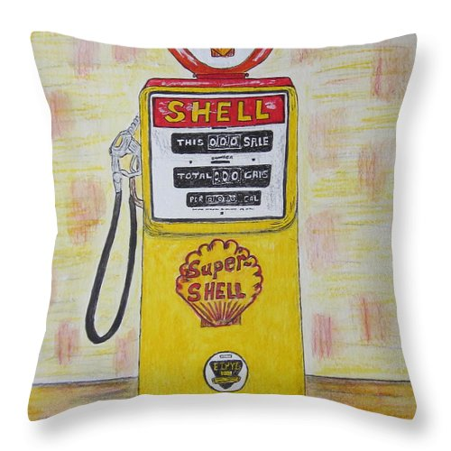 Super Shell Throw Pillow featuring the painting Shell Gas Pump by Kathy Marrs Chandler