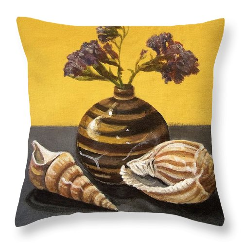 Still Life Throw Pillow featuring the painting Shells And Stripes by Laura Aceto