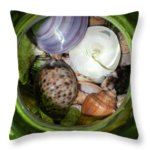 Sealife Throw Pillow featuring the photograph Shells Under Glass II by Maria Bonnier-Perez