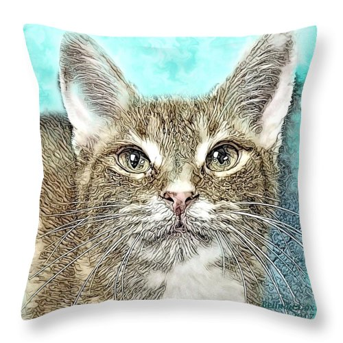 Digital Art Throw Pillow featuring the digital art Shelter Cat Fantasy Art by Artful Oasis