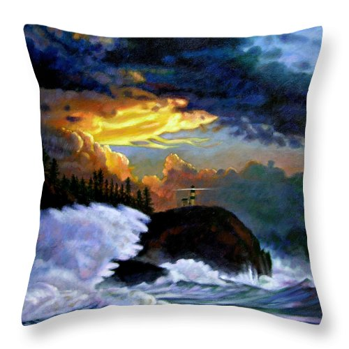 Ocean Throw Pillow featuring the painting Shelter From The Storm by John Lautermilch