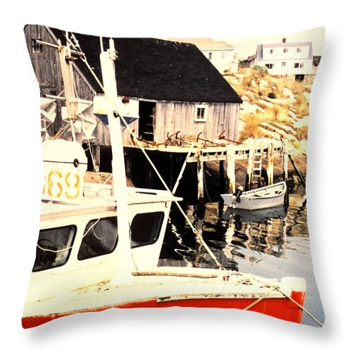 Peggys Cove Throw Pillow featuring the photograph Sheltered Port by Ian MacDonald