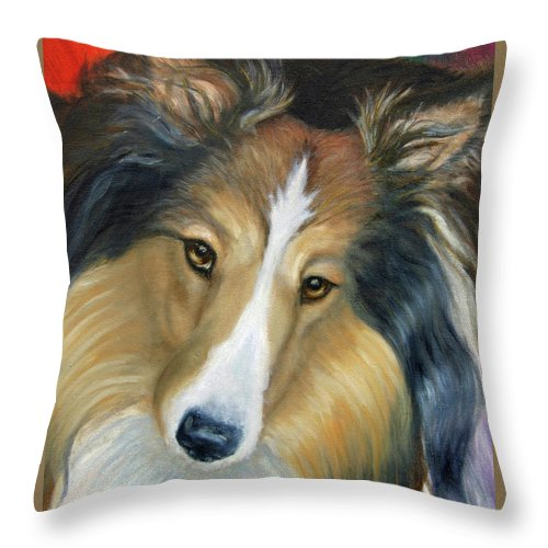 Fuqua - Artwork Throw Pillow featuring the painting Sheltie - Collie by Beverly Fuqua