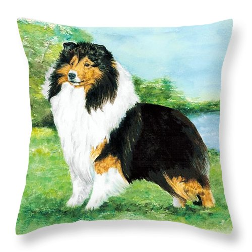 Shetland Sheepdog Throw Pillow featuring the painting Sheltie Wait by Kathleen Sepulveda