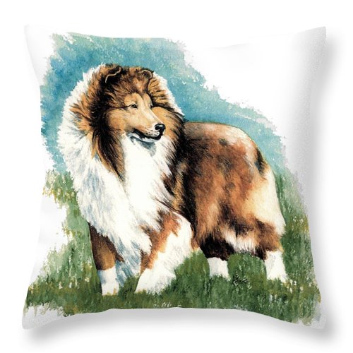 Shetland Sheepdog Throw Pillow featuring the painting Sheltie Watch by Kathleen Sepulveda