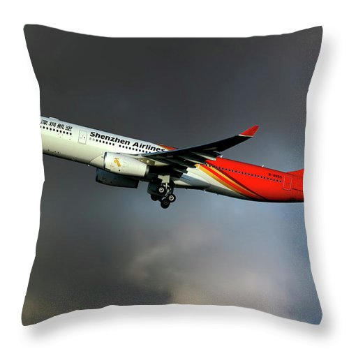 Shenzhen Throw Pillow featuring the photograph Shenzhen Airlines by Smart Aviation