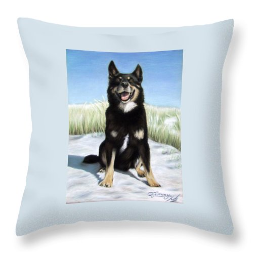 Dog Throw Pillow featuring the pastel Shepherd Mix Timmy by Nicole Zeug