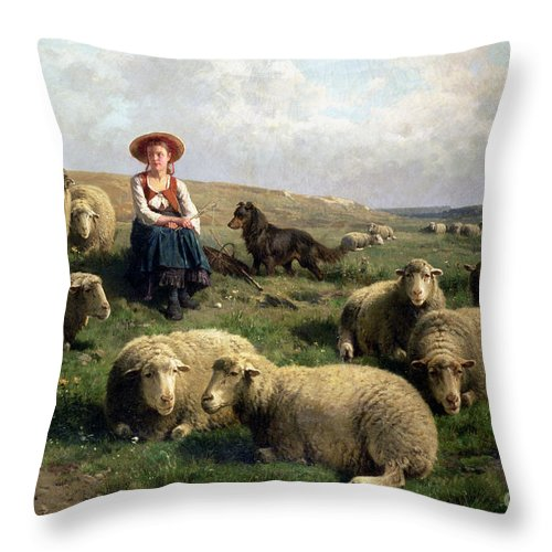 Shepherdess With Sheep In A Landscape By C. Leemputten (1841-1902) And Gerard Throw Pillow featuring the painting Shepherdess with Sheep in a Landscape by C Leemputten and T Gerard