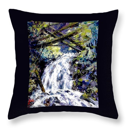 Landscape Throw Pillow featuring the painting Shepherds Dell Falls Coumbia Gorge OR by Jim Gola