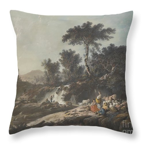 Throw Pillow featuring the drawing Shepherds Resting By A Stream by Jean-baptiste Pillement