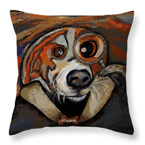 Dog Throw Pillow featuring the painting Sherdog Holmes by Regina Brandt