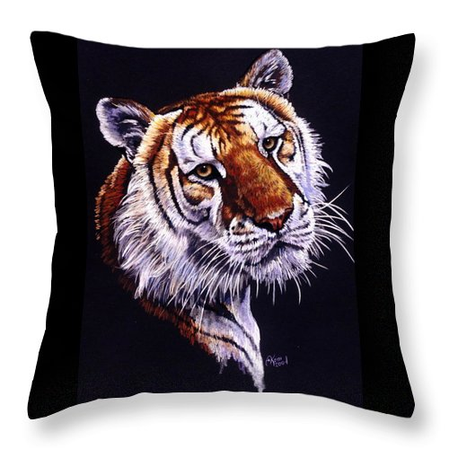 Golden Tabby Tiger Throw Pillow featuring the drawing Shere Khan by Barbara Keith