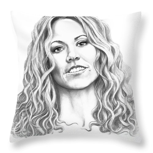 Drawing Throw Pillow featuring the drawing Sheryl Crow by Murphy Elliott