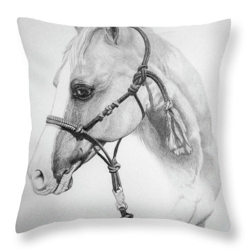 Horse Throw Pillow featuring the drawing Shes The Gentle One by Tracy L Teeter