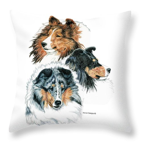 Shetland Sheepdog Throw Pillow featuring the drawing Shetland Sheepdogs by Kathleen Sepulveda