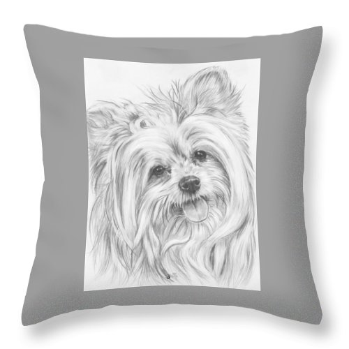 Designer Dog Throw Pillow featuring the drawing Shi-chi by Barbara Keith