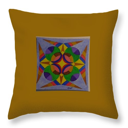Geometric Abstract Throw Pillow featuring the painting Shield by Dennis Rugtvedt